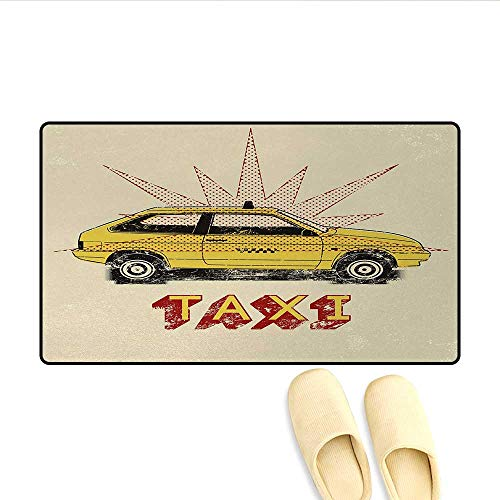 Bath Mat,Pop Art Style Old Fashioned Taxi Cab with Grunge Effects Vintage Car Graphic,Door Mats for Home,Beige Yellow ()