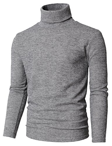 (H2H Mens Casual Wool Cashmere Knitted Sweater Long Sleeve Turtleneck Pullover Tops Gray US XL/Asia 2XL (KMOSWL0231))
