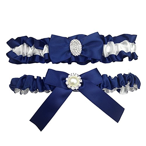 Kirmoo Bridal Garter Belt Set Royal Blue and White Wedding Keepsake Toss Garters (Navy Blue and White)