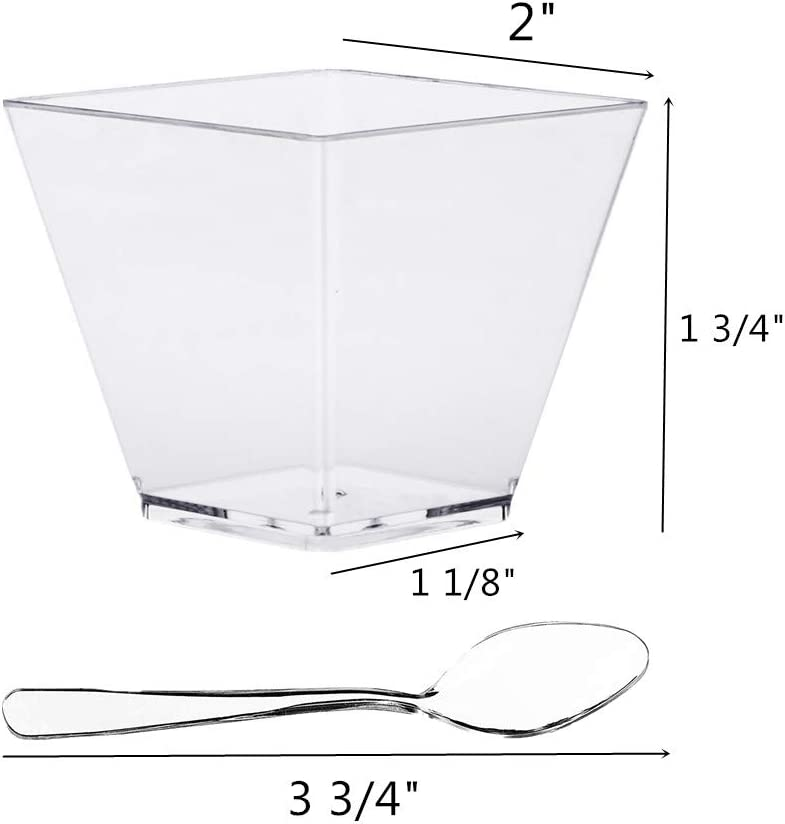 quadratisch Kunststoff Mini-Dessertbecher und L/öffel transparent 50 ml 100 St/ück