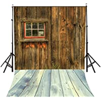 Lyly County 5×7ft 100% Polyester Rustic Barn Door Wall Photo Background Stripe Wood Floor Photography Backdrop Studio Props (Upgrade material) LY048
