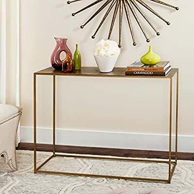 Safavieh Home Collection Risa Antique Brass Matrix Standard Console - This console table will add a fresh look to any room Crafted of iron Perfect for a living room, family room, den, library, or study - living-room-furniture, living-room, console-tables - 51BjkqGR1gL. SS400  -