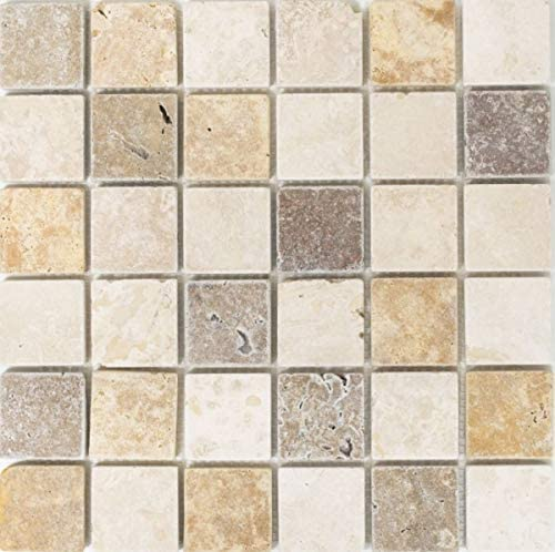 Mosaik Fliese Travertin Naturstein beige braun Travertin tumbled MOS43-46685/_m
