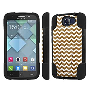 NakedShield Alcatel Oone Touch Fierce 2 7040T Chevron Gold T Armor Tough Shock Proof KickStand Phone Case