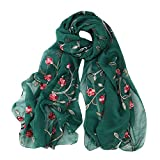 DEATU Hijab Scarfs for Women, Clearance Ladies Embroidery Chiffon Wrap Shawls Headband Muslim Scarf(M)