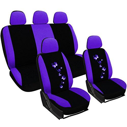 WOLTU AS7250la stoelhoezen autostoelhoezen universele maat, vlinder borduurwerk, zwart-paars