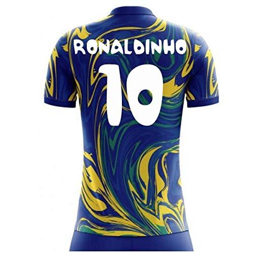 Airosportswear 2018-19 Brazil Away Concept Football Soccer T-Shirt Jersey (Ronaldinho 10) - Kids