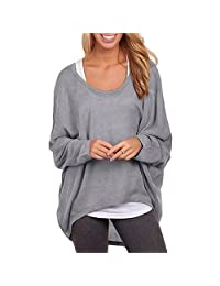 BIUBIONG Women's Casual Oversize Long Batwing Sleeve Baggy Shirt Pullover Blouse Tops