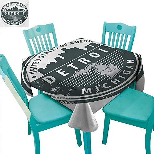 Detroit Washable Table Cloth Damaged Old Stamp of Michigan USA with City Map Location Tourism Travel Icon Washable Polyester - Great for Buffet Table, Parties, Holiday Dinner, Wedding & More 60