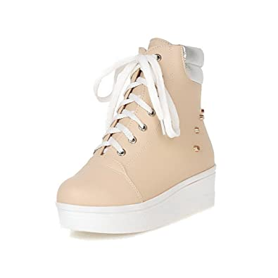 Women's PU Low-top Assorted Color Lace-up Kitten-Heels Boots