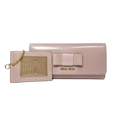 a0046335eb67 ミュウミュウ miumiu 財布 5MH109 ヴィンテージ風レザー リボン パスケース付き 二つ折り長財布