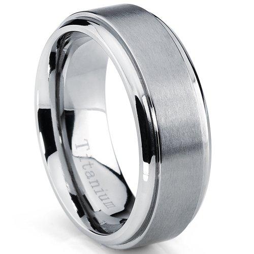 Metal Masters Co., 8 mm de alto brillo, acabado mate, anillo de titanio para hombre, tamaños de alianza de boda de 7 a 15