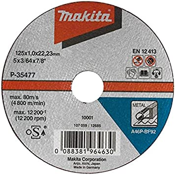 Makita Cutting Disc 125X1/MM Metal P 35477/ /10/Pack