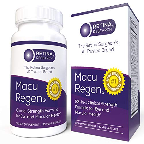 MacuRegen Eye Vitamins - 23-in-1 Macular Health Supplement with Lutein and Zeaxanthin - 90 Capsules - by Retina Research