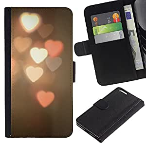 UberTech / Apple Iphone 6 PLUS 5.5 / Hearts Light Art Photo Vignette / Cuero PU Delgado caso Billetera cubierta Shell Armor Funda Case Cover Wallet Credit Card