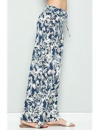 12trees dama Cordón en la cintura alta con impresión Floral Palazzo de pierna ancha pantalones Plus tamaño
