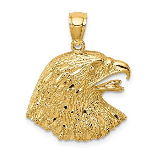 - 14k Yellow Gold Diamond-Cut Eagle Pendant