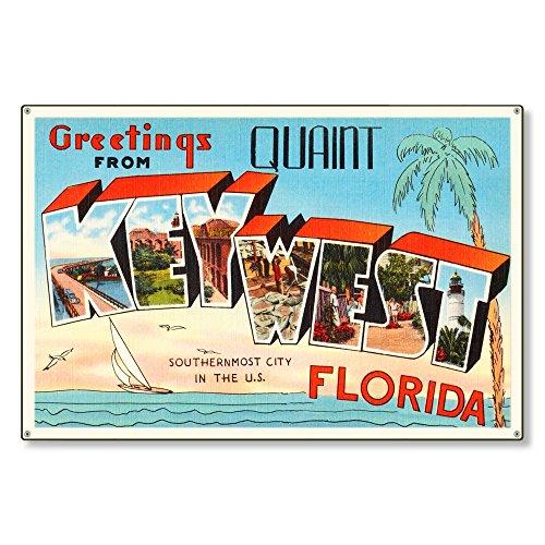 Key West Florida fl Old Retro Vintage Travel Postcard Reproduction Metal Sign Art Wall Decor Steel Sign Tin Sign 12x18 -