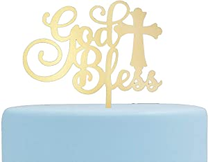 God Bless Acrylic Cake Topper for Baptism, Christening, Dedication or First Communion Decorations(MIrror Gold)