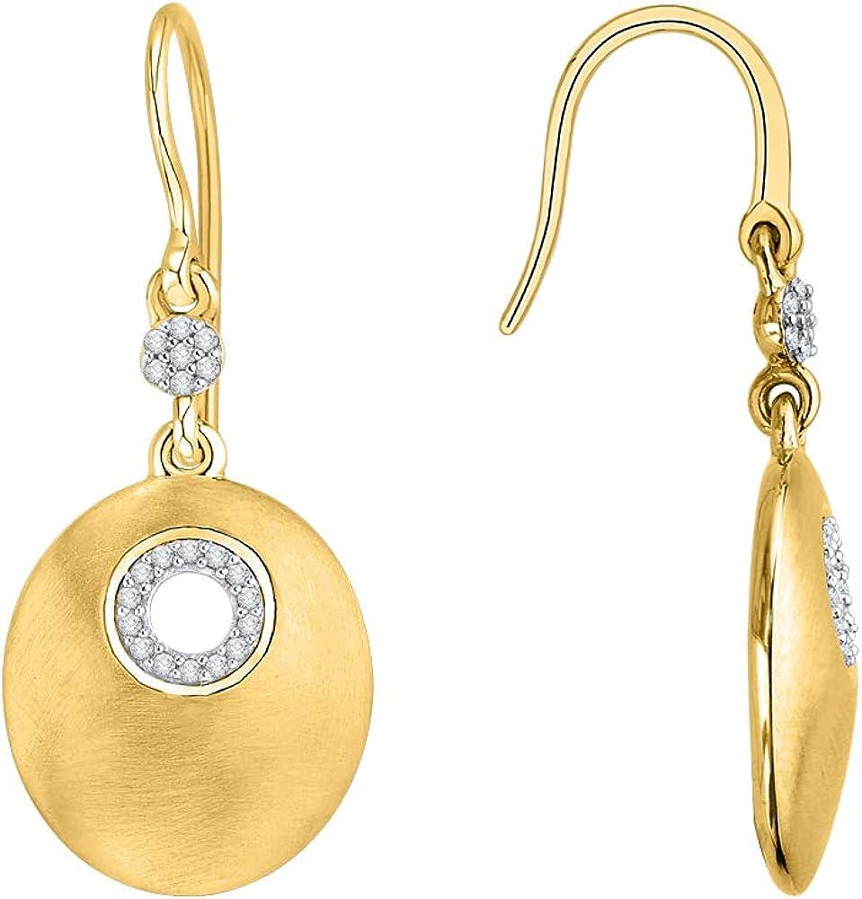 1//6 cttw, G-H, I2-I3 KATARINA Prong Set Diamond Circle Dangle Earrings in Gold or Silver