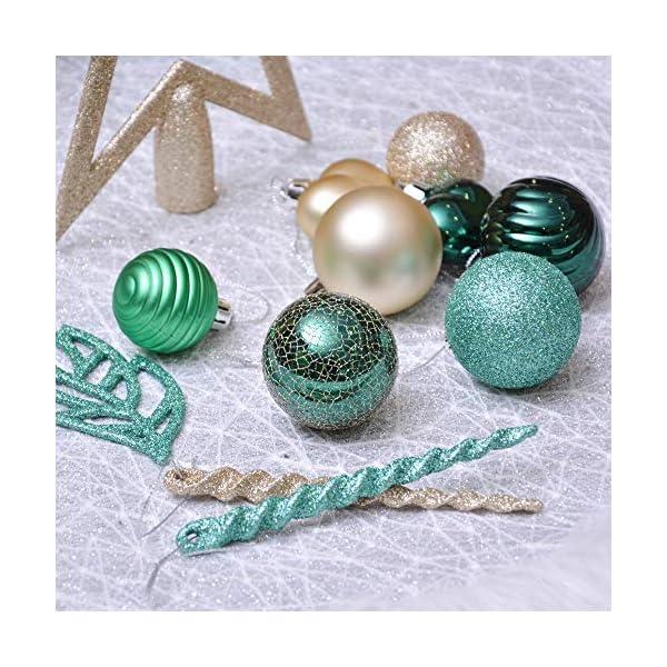 Valery Madelyn Palle di Natale 60 Pezzi di Palline di Natale, 3-5 cm di Carnevale della Foresta Pluviale Verde e Oro Infrangibile Ornamenti di Palla di Natale Decorazione per la Decorazione 7 spesavip