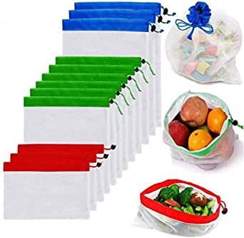 Reusable Mesh Produce Bags, Reusable Mesh Bags 12 Pack Washable Eco Friendly Bags, with Tare 3 Sizes for Grocery Shopping Storage Like Fruit Vegetable and Toys