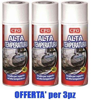 Bombolette Spray Pz.3 NERO ALTE TEMPERATURE 400ml Acrilico Professionale -CFG- CFG spa