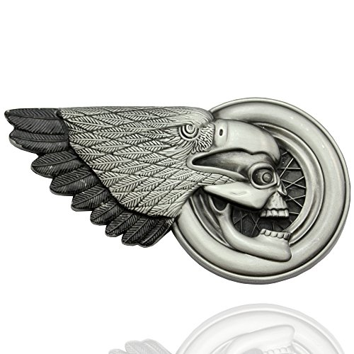 Q&Q Fashion Men Vintage Silver 3D Eagle Skull Indian Chief Feather Costume Motorcycle Belt (Paparazzi Costumes)