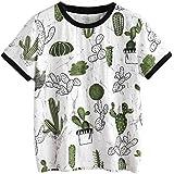 FDelinK Women Teen Girls Cute Cactus Print Short Sleeve Summer Casual Tunic T-Shirt Tops