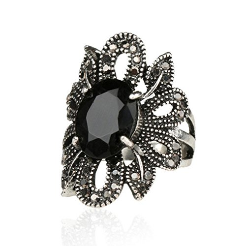 Sunward Vintage Fashion Ring Silver Marcasite Flower Crystal Cocktail Statement Rings for Women (Black, 7)