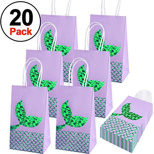 SIQUK 20 Packs Mermaid Party Bags Mermaid Favor Gift Bags Paper Bags Mermaid Party Supplies Goodie Bags Glitter Treat Bags for Mermaid Themed Party -