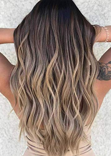 VeSunny Ash Brown Balayage Halo Hair Extensions #2 Dark Brown Fading to #6 Chestnut Brown Mix #18 Halo Ombre Extensions Remy Human Hair 12inch 80G/Set