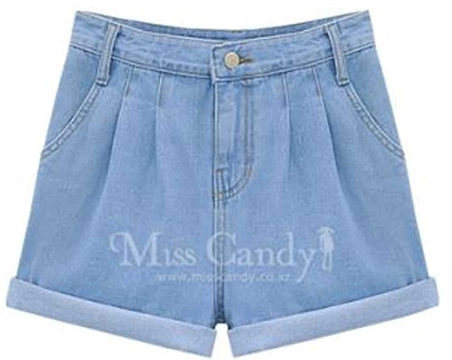 QZUnique Women's Plus-Size Casual High Waist Hemming Denim Shorts (US 8/Asian XL, Light Blue)