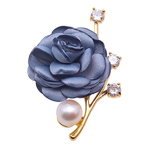 JYX Fine Red Rose Brooch 11.5mm White Freshwater Pearl Brooch Bouquet Pin