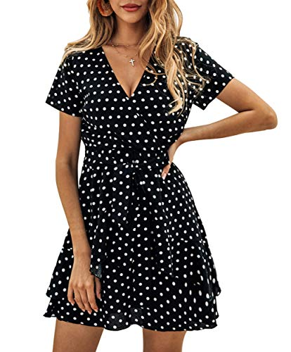 Finerease Women's Ruffle Short Sleeve V Neck Polka Dot Swing A Line Casual Mini Dress with Tie Belt (Black, Large)