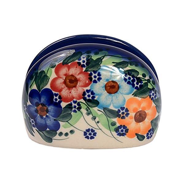 Traditional Polish Pottery, Handcrafted Ceramic Serviette Holder, Height 6cm, Boleslawiec Style Pattern, D.702.Garland