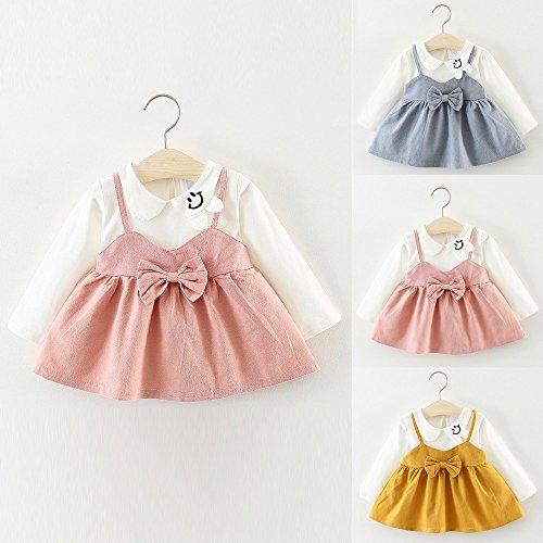 89684c773047 Toraway- Baby Girls Cute Pan Collar Dresses Newborn Infant Braces ...