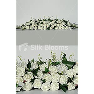 Silk Blooms Ltd Huge Ivory Rose White Freesia Long Low Top Table Arrangment