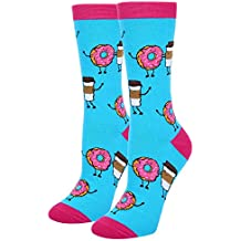 Women's Novelty Crazy Crew Socks Funny Colorful Food Teacher Book Chicken Hen Teeth Otter Animal Socks