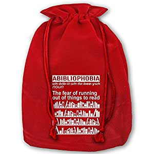 bibliophile libro cordón de terciopelo rojo de Papá Noel bolsa para regalo para Navidad boda regalos
