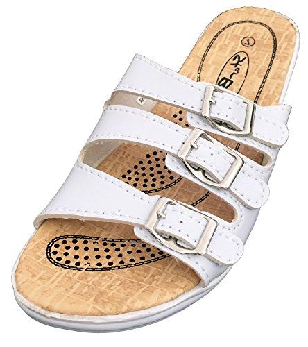 (S-2603 Women's Slides Sandals Triple Adjustable Straps Buckle Comfort Slip On Wedge Flip Flops Casual Shoes (7 B(M) US, White))