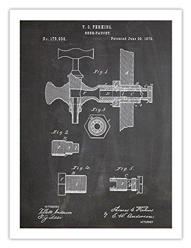 BEER KEG FAUCET INVENTION POSTER BLACKBOARD 18x24 PATENT ART PRINT 1876 VINTAGE BREWING BREW PERKINS - Perkins Store