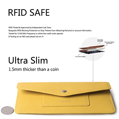 Women's Wallet Leather RFID Ultra-thin Envelope Ladies Purse Travel Clutch (Crosshatch Yellow) by Borgasets (Image #5)