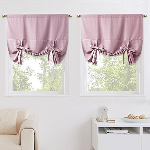 NICETOWN Thermal Insulated Blackout Curtains - Modern Design Tie Up Shades Home Decoration for Baby's Nursery (Double Pieces, Lavender/Baby Pink, Rod Pocket Panel, 46