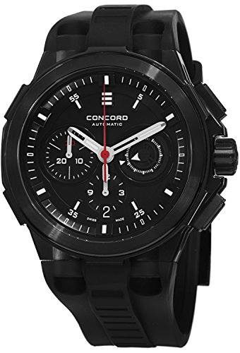 Concord C2 Automatic Chronogrph Men's Black Rubber Strap Black PVD Swiss Made Watch 0320138 ()