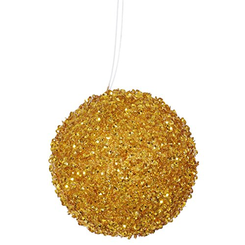 4ct Antique Gold Sequin and Glitter Drenched Christmas Ball Ornaments 4'' (100mm) by Vickerman