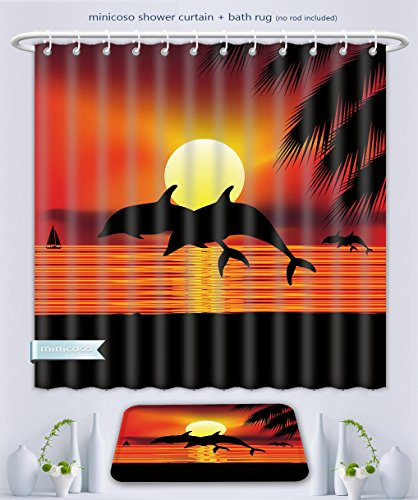 Minicoso Bathroom Two-Piece Suit: Shower Curtain and Bath Rug Whale Decor Collection Two Dolphin In The Ocean At Sunset And Palm Tree Leaves Romantic Waterscape View Orange B, 79