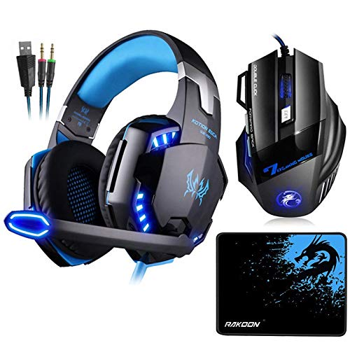 Roisay Gaming Headset with 7.1 Surround Stereo /& LED Light,USB Wired PC Over Ear Earphones Built-in Mic Noise Cancelling Headphones,Volume Control,Memory Foam,Adjustable Headband Headset