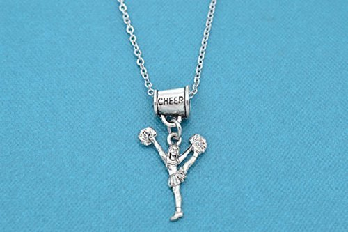 Cheer Mom Necklace (Little Girls, Girls, Teen Cheerleader Necklace with megaphone charm hanger 16 silver stainless steel chain with a 2 extender. Cheerleader. Cheer. Little girl necklace)