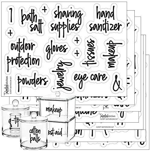 Script Bathroom Beauty Preprinted Labels, Organization Set. 105 Clear Script Stickers by Talented Kitchen. 105 Water Resistant Label Set for Bathroom Vanity Cabinet (Set of 105 Script Bathroom Titles)